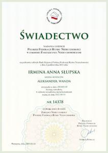Świadectwo Nadania Licencji Polskiej Federacji Nieruchomości