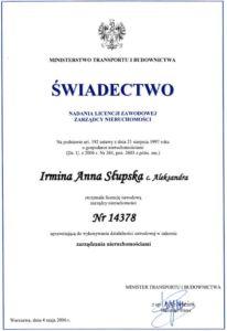 Świadectwo Nadania Licencji Zarządcy Nieruchomości